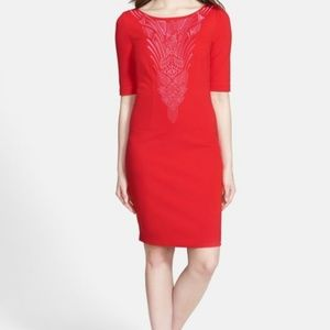 Laundry by Shelli Segal Red Ponte Shift Dress 12